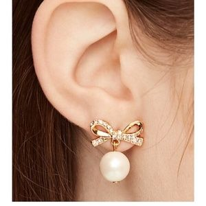 Kate Spade skinny mini bow pearl earrings